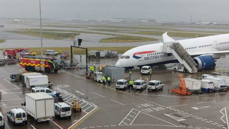 Emergency services at the scene at Heathrow