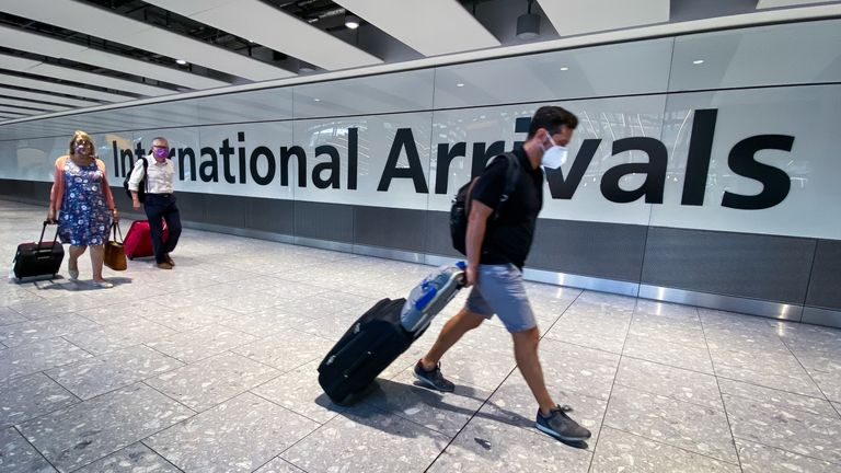 File photo dated 22/08/20 of passengers in the arrivals hall at Heathrow Airport, London. The much-anticipated green list of countries that tourists can visit without quarantining on their return will be published on Friday. Issue date: Friday May 7, 2021.