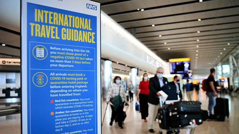 Travellers arrive at Heathrow airport. Pic: Andy Rain/EPA-EFE/Shutterstock