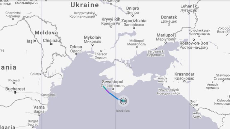 This map shows the route of HMS Defender. Pic: Marinetraffic.com