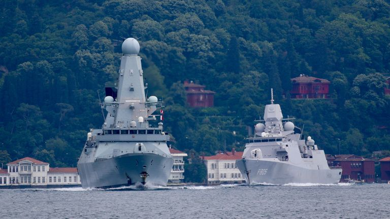 Royal Navy's Type 45 destroyer HMS Defender, followed by Royal Netherlands Navy frigate HNLMS Evertsen