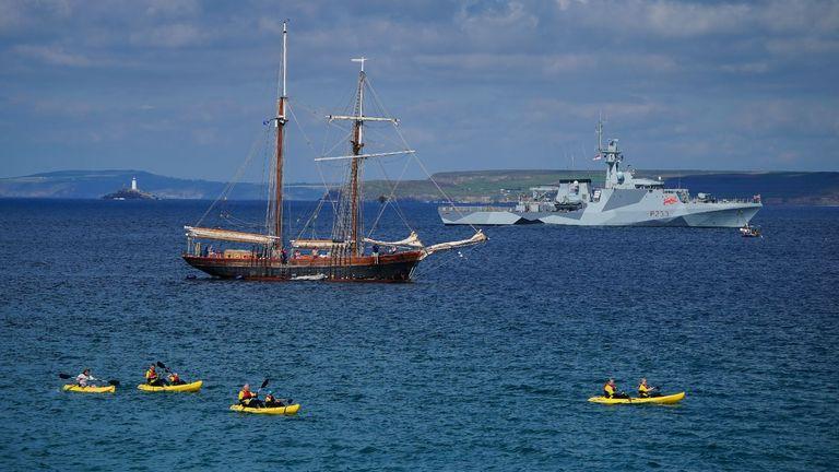 HMS Tamar, a Batch 2 River-class offshore patrol vessel, patrols off the coast of Cornwall