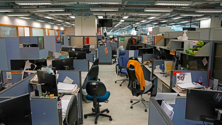 The Apple Daily newsroom was raided by police officers last week