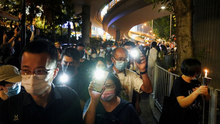 Hong Kongers gathered outside Victoria Park to commemorate the Tiananmen Square massacre after police closed the park