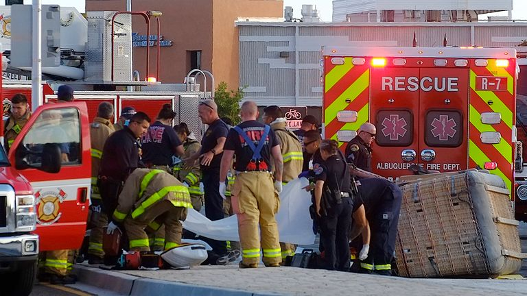 The emergency services were called around 7am on Saturday. Pic: Adolphe Pierre-Louis/Albuquerque Journal via Associated Press