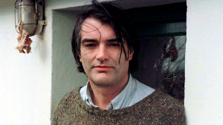 Ian Bailey speaks to reporters at his home in County Cork, February 13, 1997