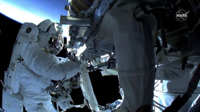 Astronauts ventured out on their second spacewalk in less than a week to install powerful new solar panels outside the ISS.