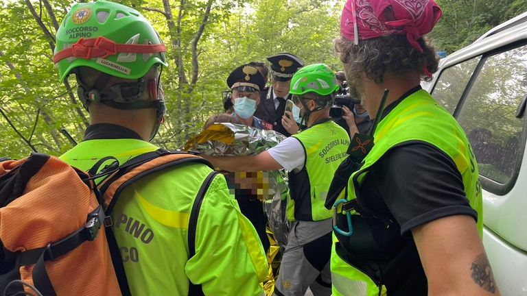 The boy was found around a mile from his home in Tuscany. Pic: Italian rescue service