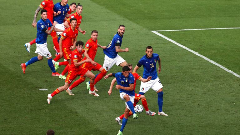 Matteo Pessina scored the opening goal in the 39th minute. Pic: AP