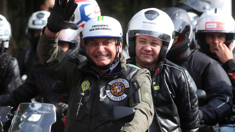 The president joined the bikers on a route around the city
