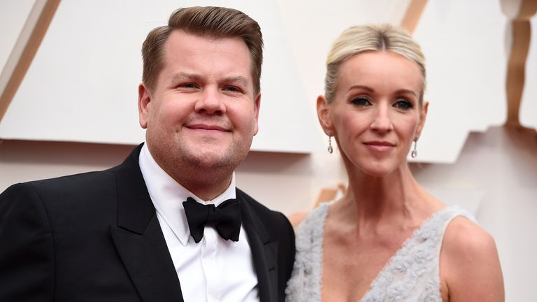 James Corden, left, and Julia Carey arrives at the Oscars on Sunday, Feb. 9, 2020, at the Dolby Theatre in Los Angeles. (Photo by Jordan Strauss/Invision/AP)