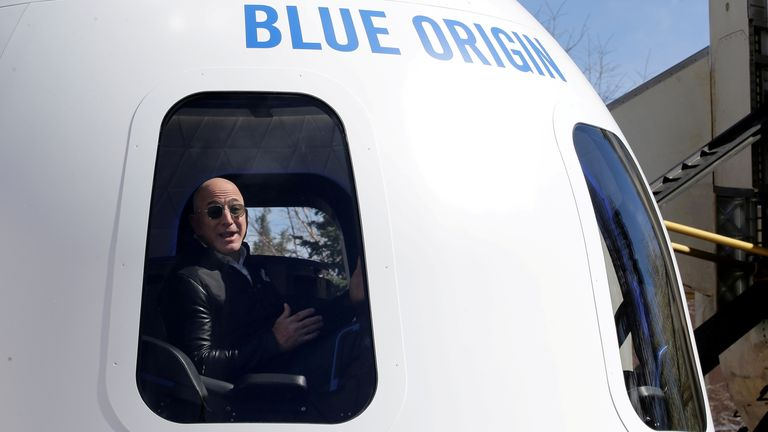 Jeff Bezos is looking forward to his space adventure which is due to take place in July. File pic