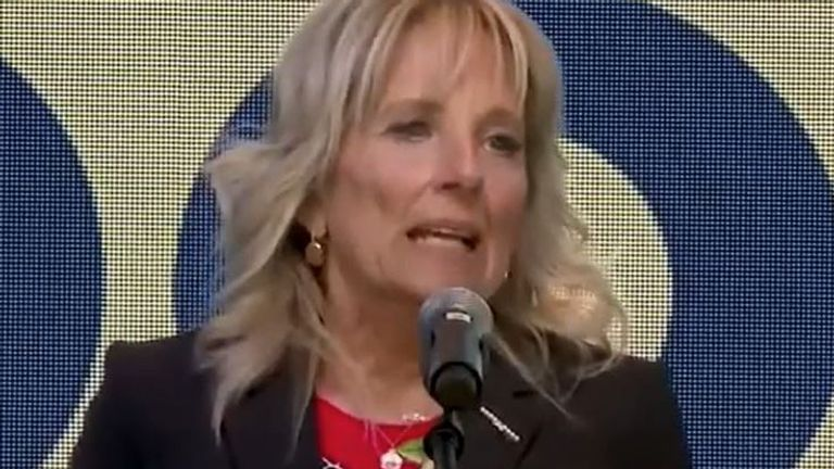 Jill Biden tells crowd they are booing themselves over vaccine statistics