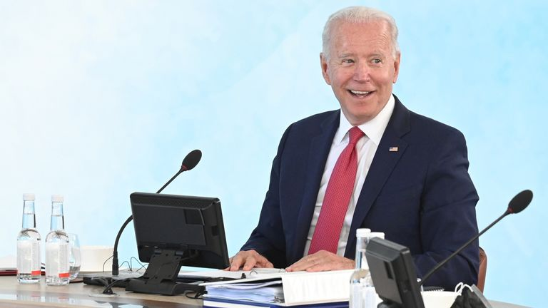 U.S. President Joe Biden attends a working session during G7 summit in Carbis Bay, Cornwall, Britain, June 12, 2021. Leon Neal/Pool via REUTERS