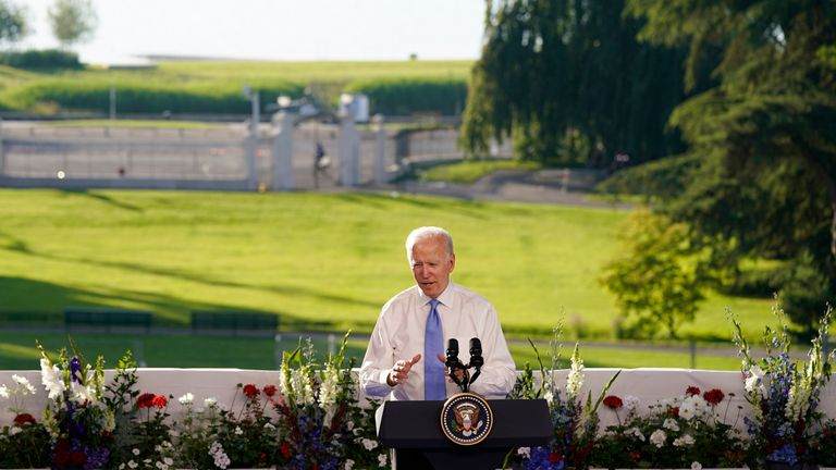 Mr Biden held his news conference outside. Pic: AP