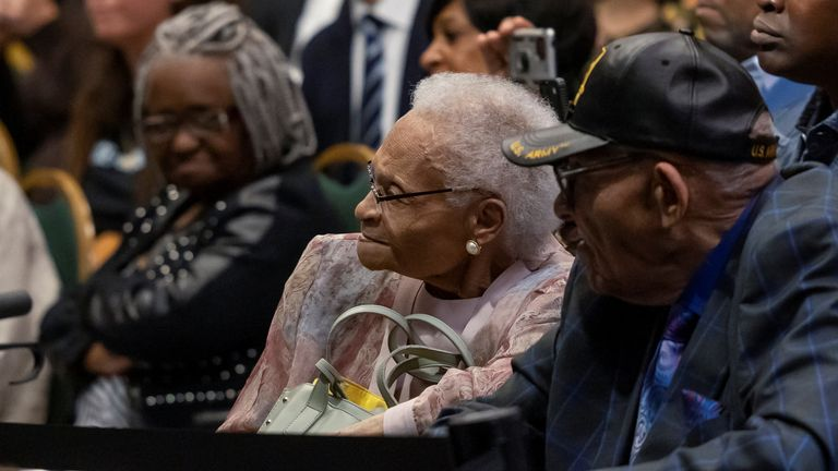 Survivors of the massacre listened to Mr Biden's speech