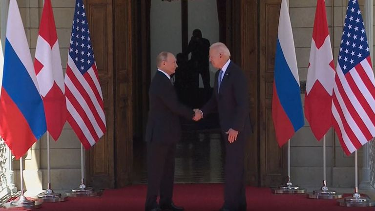 US president and Russian president shake hands in Switzerland