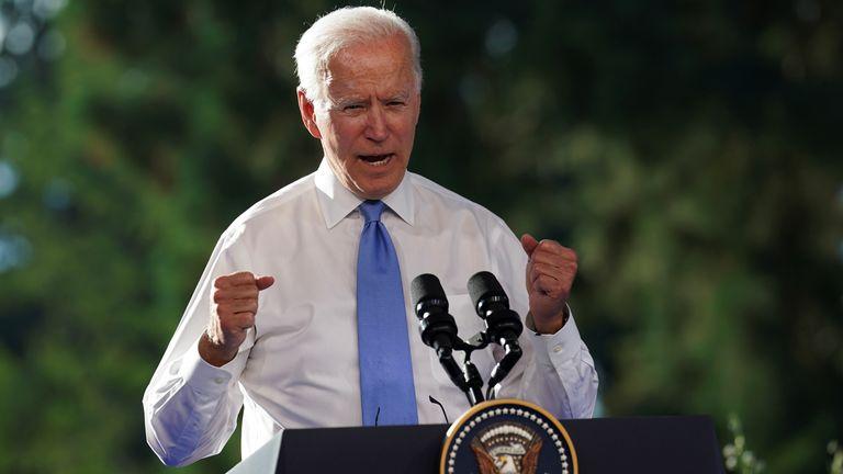 US President Joe Biden speaks to reporters after a summit with President Vladimir Putin