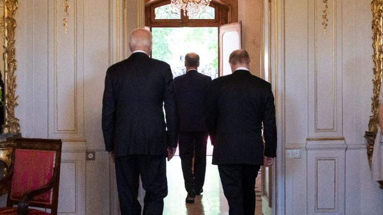President Biden and President Putin walk out to face the media shortly after they arrived for the Geneva summit. Pic: AP