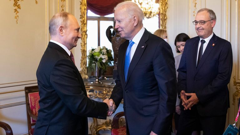 President Biden and President Putin shake hands in Geneva. Pic: AP