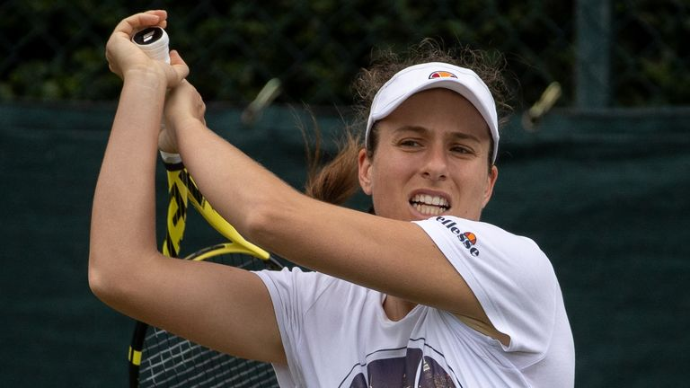 Johanna Konta pictured during a practice session at Wimbledon on Sunday