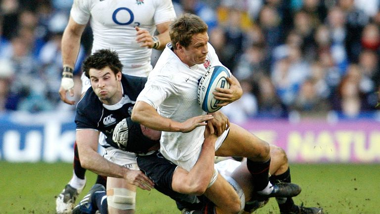 Rugby Union - Scotland v England RBS Six Nations Championship 2010 - Murrayfield, Edinburgh, Scotland - 13/3/10 England's Jonny Wilkinson (C) is tackled by Scotland's Kelly Brown (L) and Johnnie Beattie Mandatory Credit: Action Images / Paul Thomas Livepic