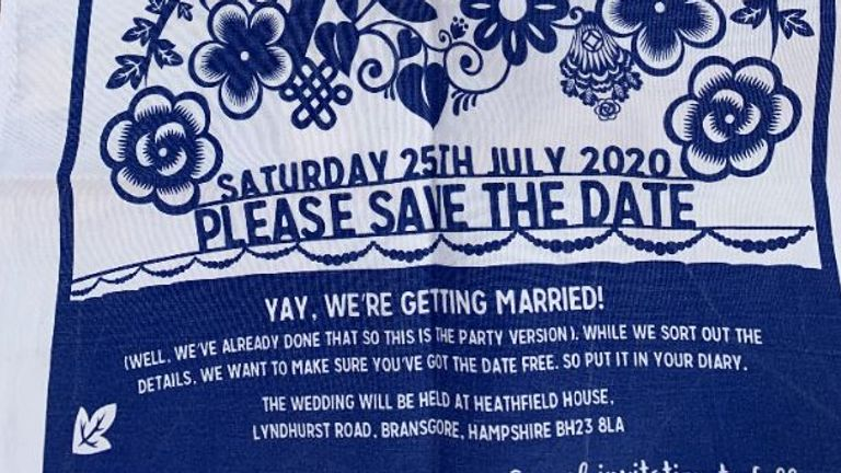 One of the couple's out of date 'save the date tea towels