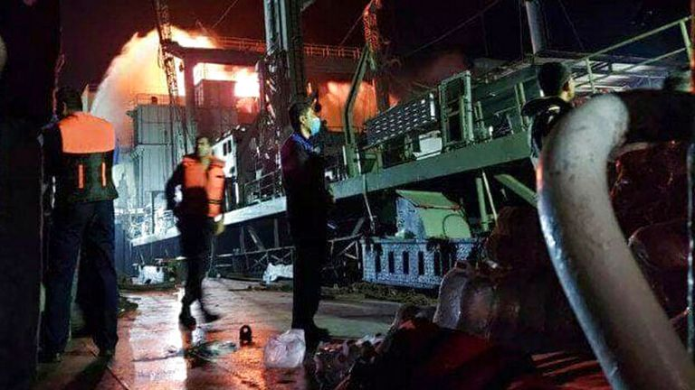 The ship sank early on Wednesday morning but the cause of the fire is unclear. Pic: AP