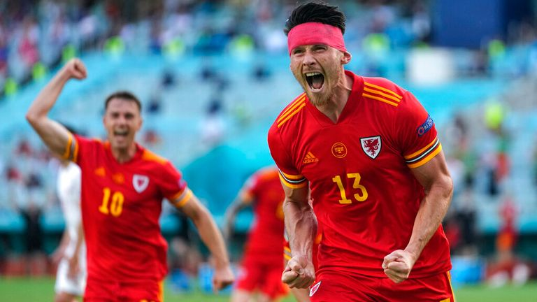 Kieffer Moore levelled things for Wales with a header in the 74th minute. Pic: AP