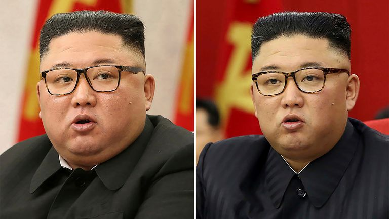 This split image shows the North Korean leader Kim Jong Un on 8 February 2021 (left) and 15 June 2021 (Pic: AP)