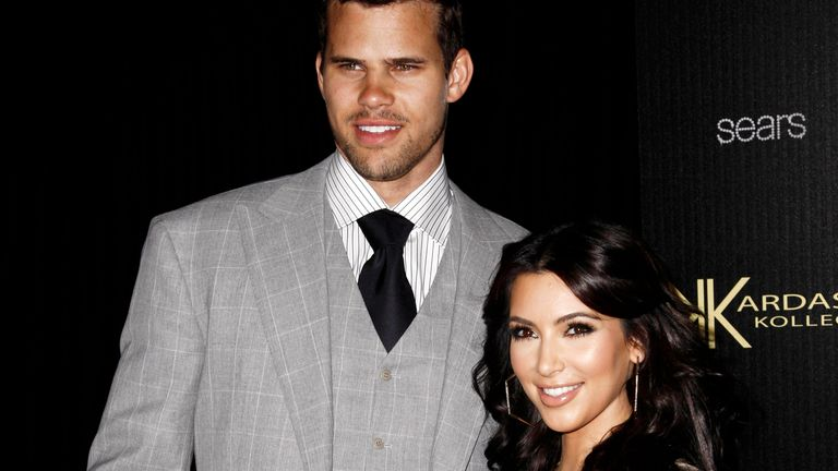 Kim Kardashian, right, and her then fiance, NBA basketball player Kris Humphries pictured at the Kardashian Kollection launch party in Los Angeles. Pic: AP
