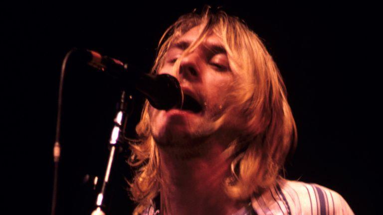 Kurt Cobain of Nirvana on stage in December of 1993. Pic: AP/Scott Weiner / MediaPunch /IPX