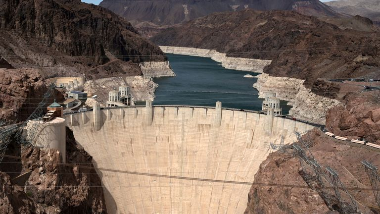 Low water levels due to drought are seen in the Hoover Dam reservoir of Lake Mead near Las Vegas