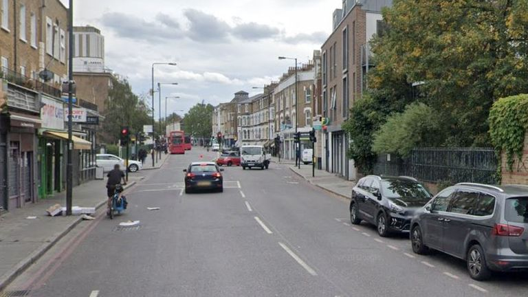 The fatal collision happened on Stockwell Road in Lambeth, south London. Pic: Google Street View