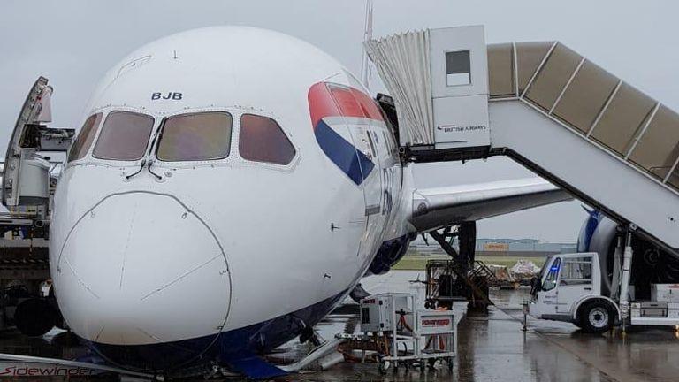 Photos of the British Airways plane
