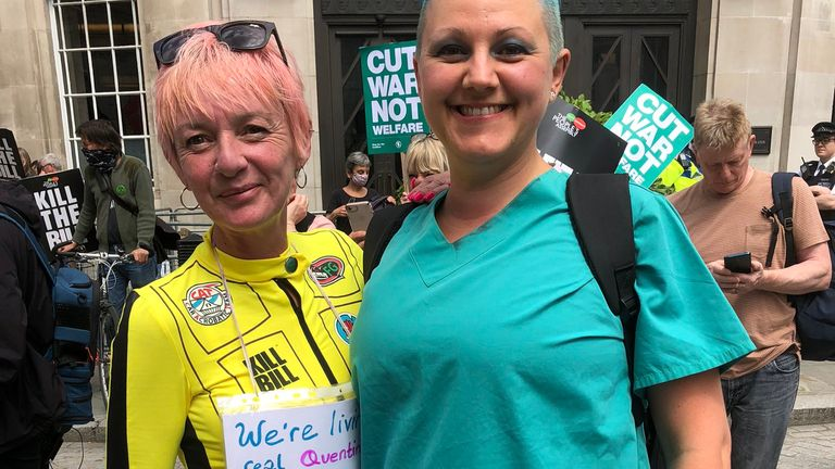"""Laura and Anne-Louise from Doncaster, who attented to demonstrate against new laws that could restrict the right to protest. """"It's taking away our human rights and our democracy."""""""