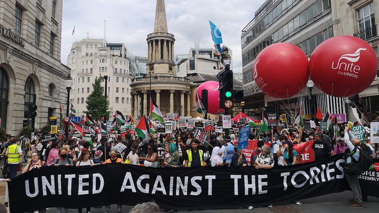 One group who proclaimed they were united in their opposition to the Tories marched down Regents Street