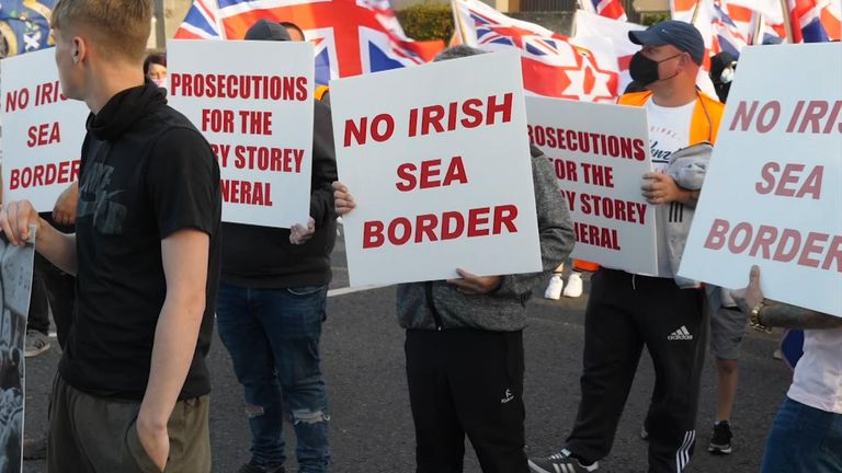 The loyalist protesters are opposed to the idea of a border in the Irish Sea