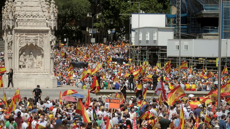 People demonstrating earlier this month against pardoning the Catalonian leaders