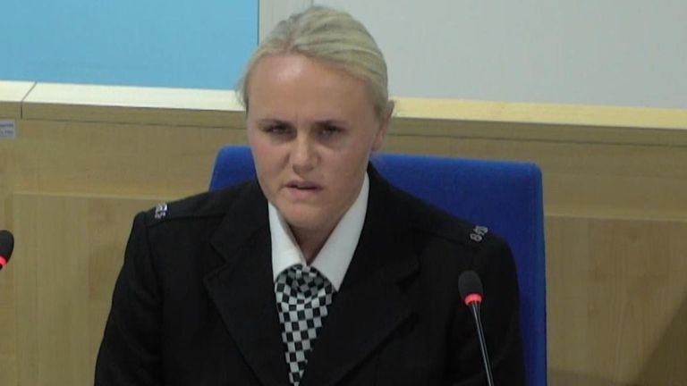 PC Jessica Bullough, who was on duty at the arena on the night of the attack, gives evidence to the inquiry