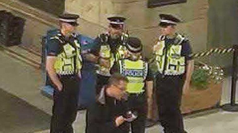 None of the four police officers on patrol were in the foyer when the bomb went off