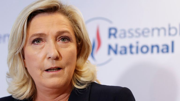 French far-right National Rally (Rassemblement National) party leader Marine Le Pen delivers a speech in reaction to the outcomes of the second round of French regional and departmental elections, in Nanterre, near Paris, France June 27, 2021. REUTERS/Sarah Meyssonnier