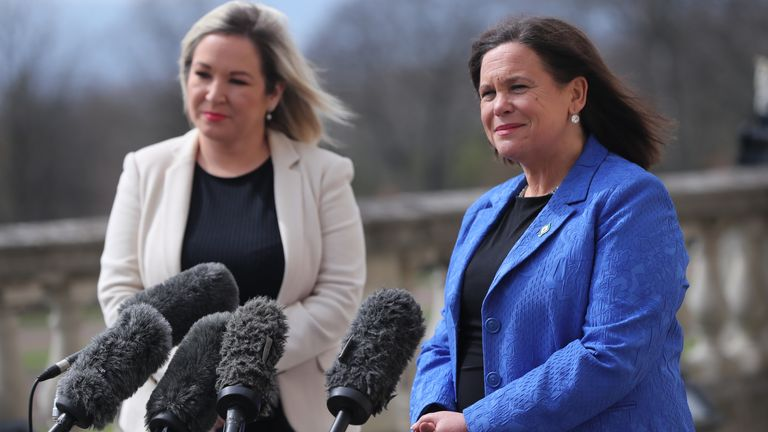 Sinn Fein deputy leader Michelle O'Neill and leader Mary Lou McDonald outside Stormont in Belfast, speaking to media following a loyalist protest in the city against Brexit's Northern Ireland Protocol. Picture date: Monday April 19, 2021.