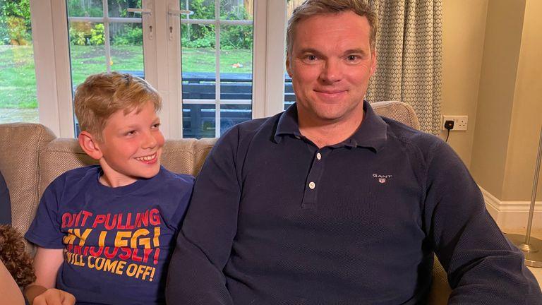 Mathew O'Toole and his son