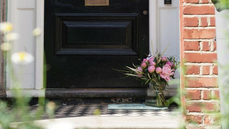 Flowers have been left on the doorstep of the northwest London home of Matt Hancock