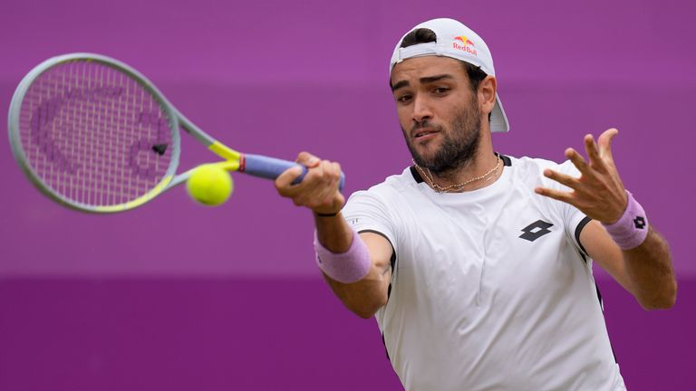 Matteu Berrettini beat Andy Murray on his way to the Queen's club title Pic: AP
