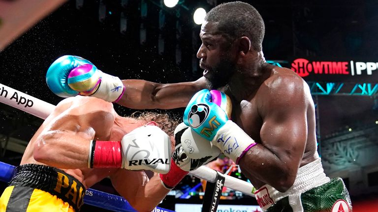 Floyd Mayweather, right, and Logan Paul fight during an exhibition boxing match at Hard Rock Stadium. Pic: AP