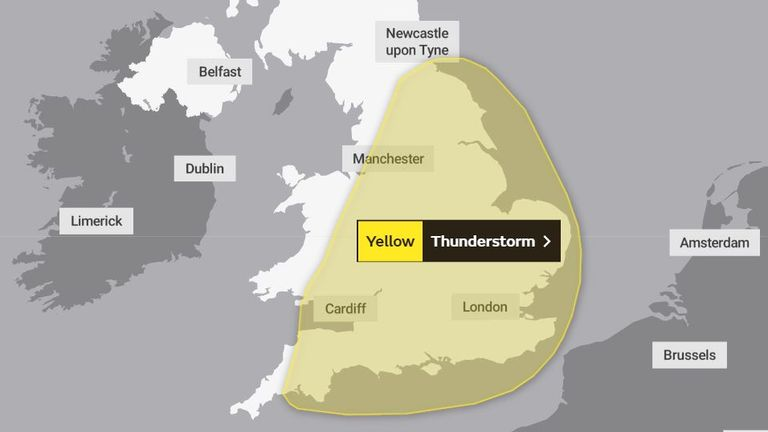 A yellow warning is in place until the end of Thursday which covers most of England and eastern parts of Wales. Pic: Met Office