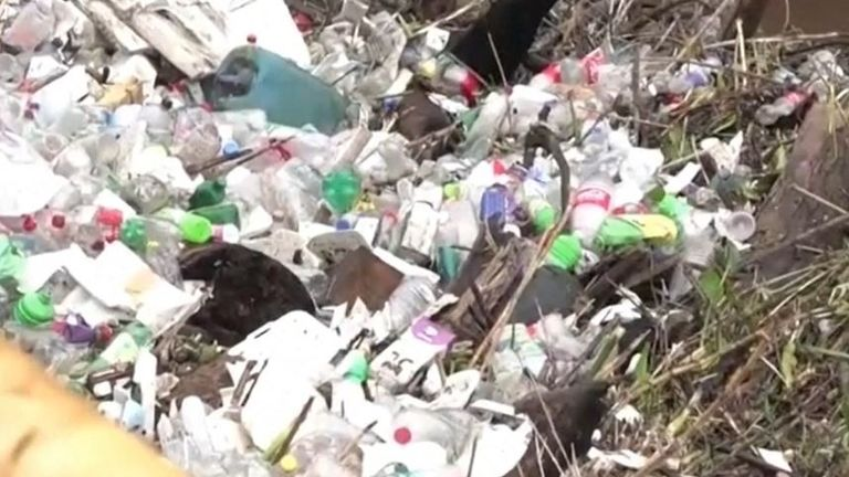 Plastic waste washes up in Mexico floods