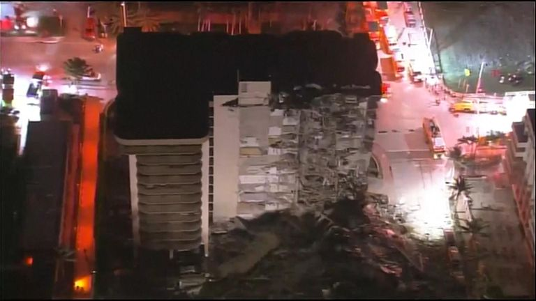 More than 80 fire and rescue units were on the scene of a partial building collapse in Miami